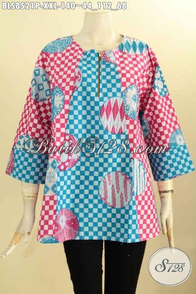 Jual Pakaian Batik Trendy Wanita Terbaru, Pakaian Batik Solo Jawa Tengah Lengan 7/8 Kancing Depan Motif Unik Proses Printing, Spesial Untuk Wanita Gemuk Pas Buat Jalan-Jalan [BLS8521P-XXL]