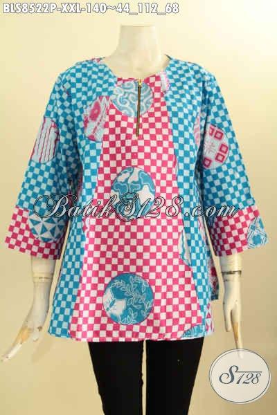Sedia Pakaian Batik Blouse Solo Jawa Tengah, Hadir Dengan Lengan 7/8 Kancing Depan Spesial Untuk Wanita Gemuk, Motif Unik Proses Printing Harga 100 Ribuan