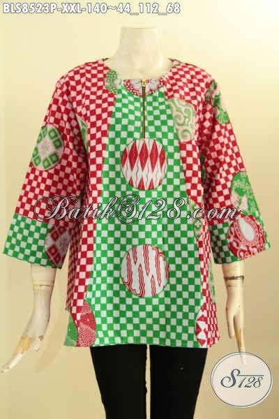 Baju Blouse Batik Atasan Untuk Wanita Gemuk, Pakaian Batik Trendy Lengan 7/8 Ukuran L3 Di Lengkapi Kancing Depan Bahan Adem Motif Unik Proses Printing Hanya 140K, Size XXL