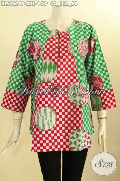 Model Baju Batik Keren Kwalitas Bagus Harga Terjangkau, Blus Batik Atasan Untukj Wanita Gemuk Dengan Lengan 7/8 Dan Kancing Depan, Tampil Gaya Dan Trendy [BLS8524P-XXL]