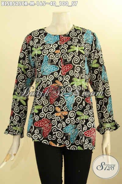 Batik Blus Bahan Paris Lengan Panjang Dengan Resleting Depan, Busana Batik Kerja Wanita Muda Bikin Penampilan Cantik Mempesona [BLS8525CR-M]