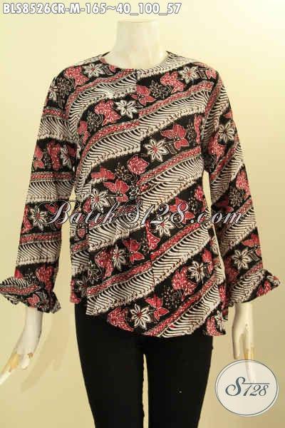 Batik Blouse Bahan Kain Paris, Busana Batik Trendy Lengan Panjang Resleting Depan Kwalitas Bagus Hanya 165, Cocok Untuk Seragam Kantor, Size M