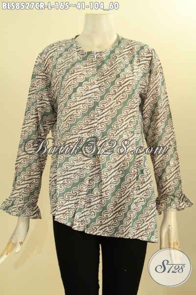 Batik Blouse Solo Jawa Tengah Lengan Panjang Bahan Paris, Pakaian Batik Istimewa Motif Elegan Proses Printing Di Lengkapi Resleting Depan Harga 165K, Size L