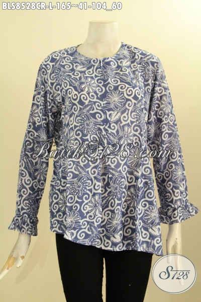 Busana Batik Kerja Wanita Karir, Pakaian Batik Blus Elegan Untuk Kondangan, Hadir Dengan Model Lengan Panjang Resleting Depan Bahan Paris Halus Proses Cap Hanya 165K [BLS8528CR-L]