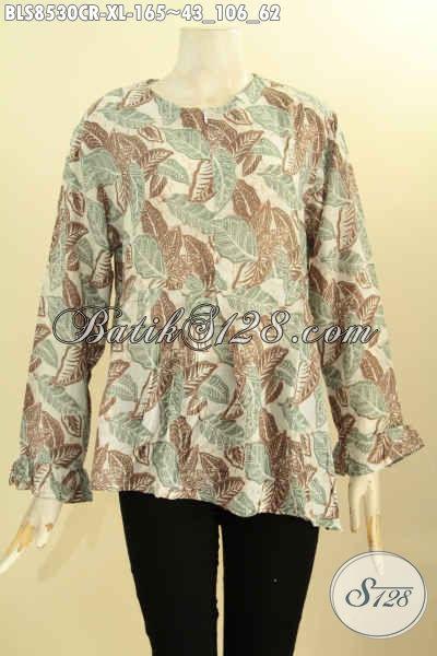 Produk Busana Batik Jawa Tengah Nan Istimewa, Blouse Batik Solo Lengan Panjang Resleting Depan Motif Unik Bahan Kain Paris, Elegan Untuk Acara Resmi, Size XL