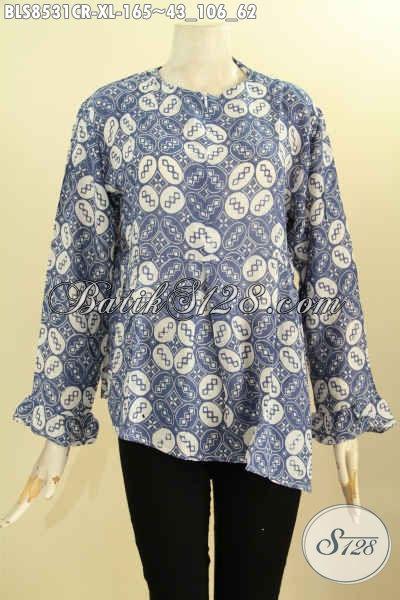 Jual Online Blouse Batik Wanita Masa Kini, Produk Baju Batik Terbaru Model Lengan Panjang Bahan Paris Dengan Resleting Depan, Tampil Cantik Menawan, Size XL