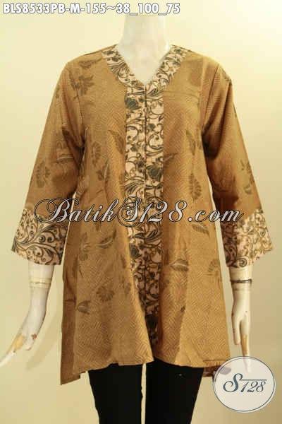 Blouse Batik Kartini Kancing Depan, Pakaian Batik Modis Halus Desain Formal Motif Elegan Proses Printing Cabut Harga 155K, Size M