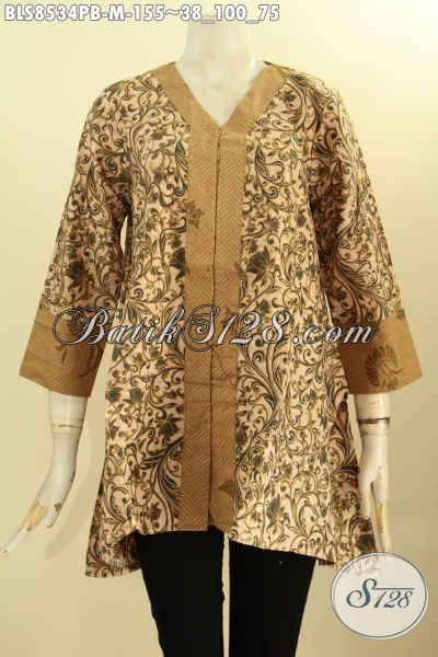 Baju Batik Blouse Solo Model Kartini Dengan Kancing Depan, Pakaian Batik Nan Istimewa Cocok Untuk Acara Resmi Tampil Anggun, Size M