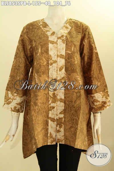 Baju Batik Wanita Elegan Model Kartini, Blouse Batik Solo Jawa Tengah Dengan Kancing Depan Motif Bagus Proses Printing Cabut, Cocok Untuk Acara Formal, Size L