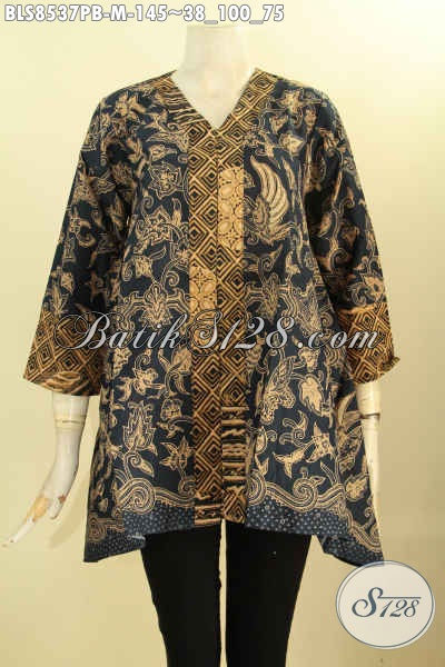 Model Batik Blus Kartini Elegan Untuk Acara Formal, Busana Batik Berkelas Motif Mewah Proses Printing Cabut Di Lengkapi Kancing Depan Harga 145K [BLS8537PB-M]