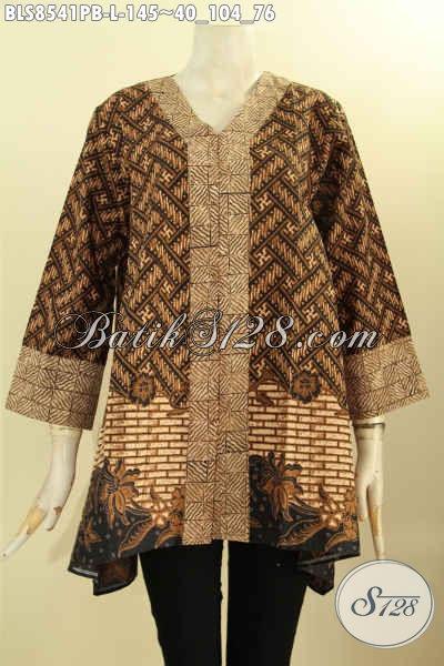 Jual Online Batik Blouse Solo Istimewa Model Kartini Kancing Depan, Pakaian Batik Kerja Wanita Kantoran, Tampil Berkelas Dan Anggun, Size L