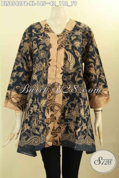 Olshop Baju Batik Wanita Terlengkap, Sedia Busana Batik Blouse Solo Jawa Tengah Nan Istimewa Model Kartini Kancing Depan Bahan Adem Motif Elegan Harga 100 Ribuan, Size XL