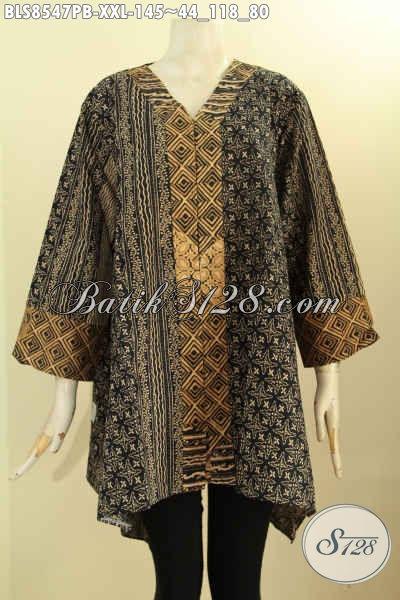 Blouse Batik Kartini Kancing Depan Motif Bagus Proses Printing Cabut, Pakaian Batik Wanita Masa Kini Kwalitas Bagus Harga Terjangkau, Size XXL