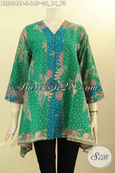 Model Baju Batik Kerja Wanita Masa Kini, Blouse Batik Kartini Dengan Kancing Depan Bahan Adem Warna Bagus Kwalitas Istimewa Proses Pirnting Hanya 145K, Size S