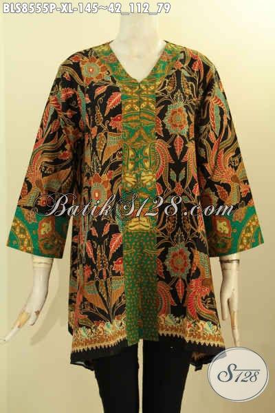 Toko Pakaian Batik Wanita Paling Up To Date, Sedia Batik Blus Kartini Kancing Depan Motif Bagus Bahan Adem Proses Printing Ukuran XL