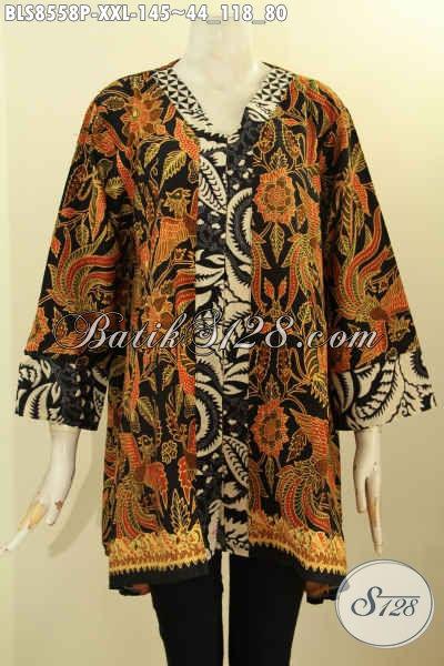 Baju Batik Wanita Gemuk, Blouse Batik Model Kartini Motif ELegan Proses Printing Cocok Untuk Wanita Gemuk Karir Aktif