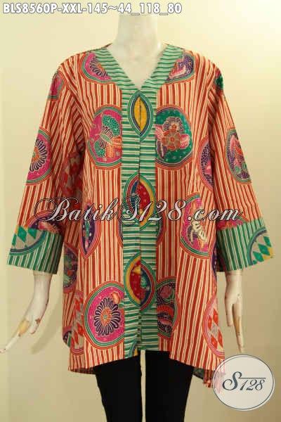 Baju Batik Wanita Gemuk, Blouse Batik Kartini Motif Piringan Nan Trendy Dan Kekinian, Busana Batik Perempuan Gemuk Untuk Penampilam Lebih Modis