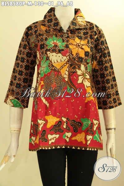 Baju Batk Wanita Lengan 7/8, Blouse Batik Elegan Pakai Kerah Dan Kancing Depan, Cocok Untuk Acara Resmi