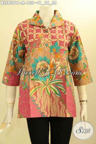 Produk Terbaru Blus Batik Dengan Krah Kemeja Lengan 7/8, Pakaian Batik Kerja Wanita Di Lengkapi Kancing Depan, Tampil Cantik Menawan
