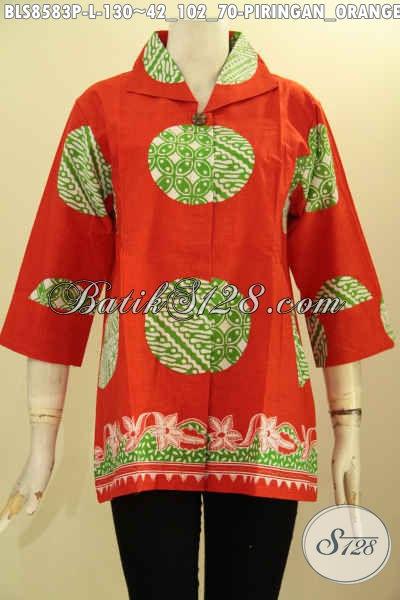 Toko Busana Batik Terlengkap, Jual Blouse Batik Modis Motif Piringan Lengan 7/8, Baju Batik Cewek Dengan Dan Kancing Depan Kwalitas Bagus Harga Murmer