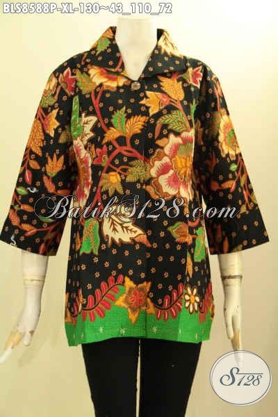 Baju Batik Wanita Dewasa Terkini, Hadir Dengan Lengan 7/8 Di Lengkapi Kancing Depan, Blus Batik Krah Motif Bagus Proses Printing Hanya 100 Ribuan Saja