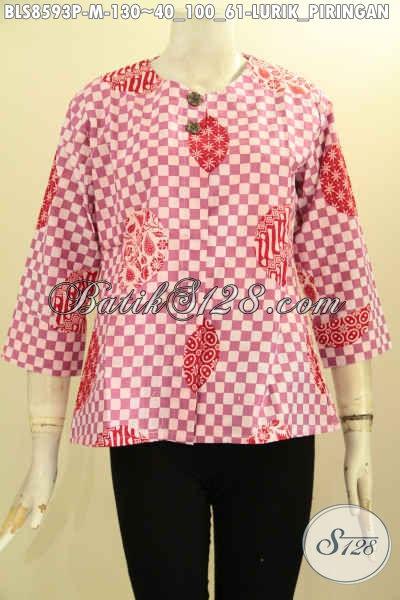 Baju Batik Blus Motif Lurik Piringan Warna Pink, Baju Kemeja Batik Wanita Tanpa Kerah Dengan Kancing Depan, Cocok Untuk Santai Dan Resmi