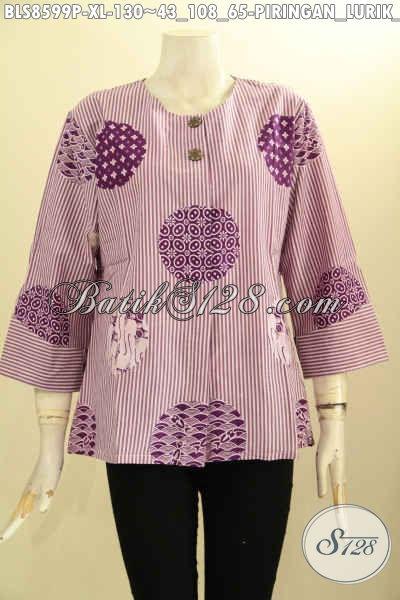 Produk Baju Batik Kemeja Blouse Tanpa Krah Motif Piringan Lurik Ungu Cocok Buat Ngantor Dan Hangour, Bahan Adem Pakai Kancing Depan Harga 130K [BLS8599P-XL]