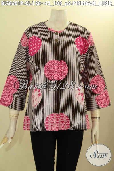 Olshop Busana Batik Paling Komplit Koleksinya, Baju Batik Kemeja Wanita Masa Kini Motif Piringan Lurik Hitam Di Lengkapi Kancing Depan, Bisa Buat Ngantor Dan Hangout