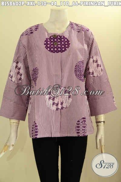 Blouse Batik Kemeja Tanpa Krah Motif Piringaan Lurik Ungu Model