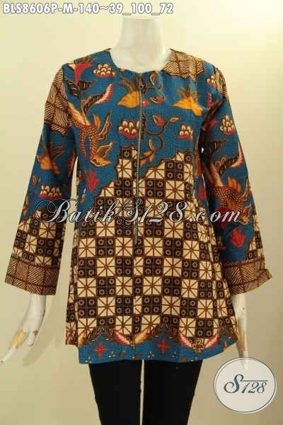 Baju Batik Atasan Wanita, Kemeja Batik Perempuan Tanpa Krah Lengan Panjang Bahan Adem Kwalitas Bagus Harga Murmer Di Lengkapi Kancing Depan