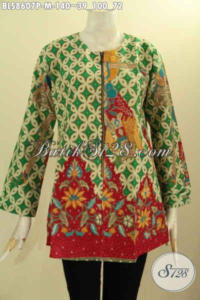Baju Batik Kemeja Wanita Lengan Panjang Tanpa Krah, Pakaian Batik Solo Terbaru Kancing Depan Bahan Adem Motif Bagus Hanya 140K