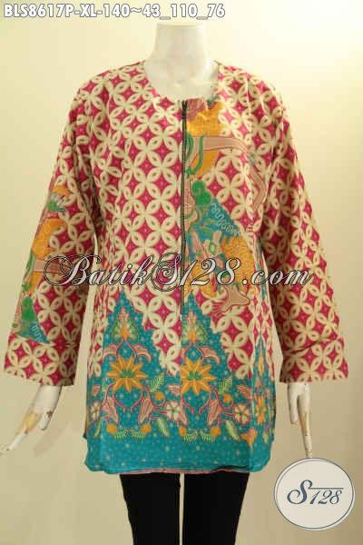 Baju Batik Wanita Dewasa Motif ELegan, Kemeja Batik Cewek Size XL Lengan Panjang Kancing Depan Di Lengkapi Kantong Paspol Kanan Kiri