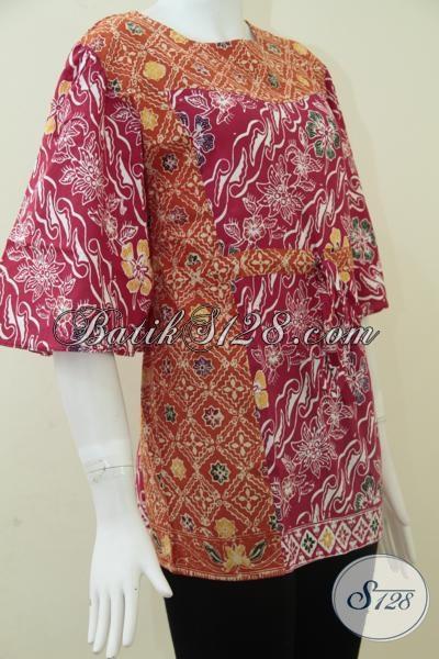 Model Blus Batik Wanita Paduan Warna Merah Dan Orange Cerah [BLS861C-M]
