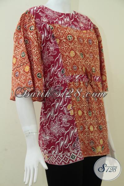 Trend Baju Batik Wanita Indonesia Modern Terkini, Blus Batik Cantik Berbahan Halus Adem Dan Nyaman Dipakai, Size M
