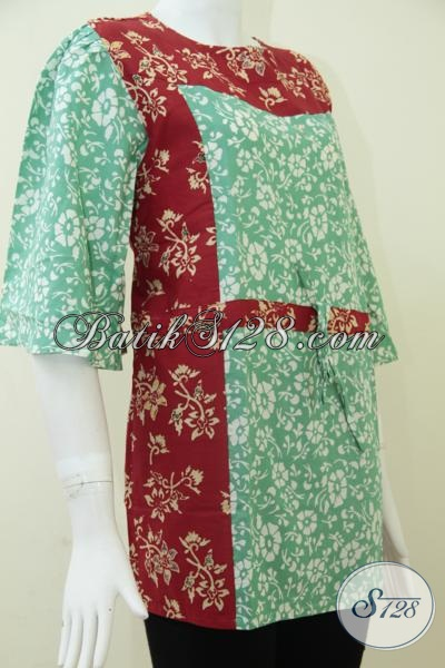 Blus Batik  Cantik Dengan Kombinasi Warna Hijau Dan Merah, Penunjang Kecantikan Perempuan Indonesia, Size L