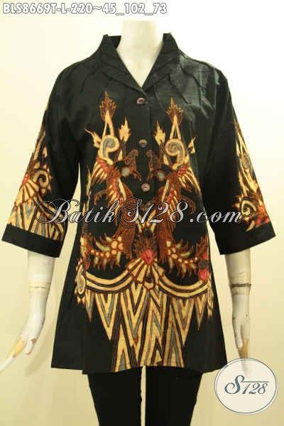 Baju Batik Tulis Untuk Wanita Muda Dan Dewasa, Blouse Batik Modern Model Kerah Langsung Motif Bagus, Cocok Untuk Santai Dan Resmi