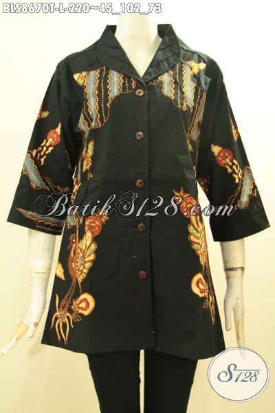 Produk Baju Batik Wanita Terbaru, Blouse Batik Solo Jawa Tengah Kerah Langsung Nan Istimewa Motif Trendy Proses Tulis Hanya 200 Ribuan Saja [BLS8670T-L]