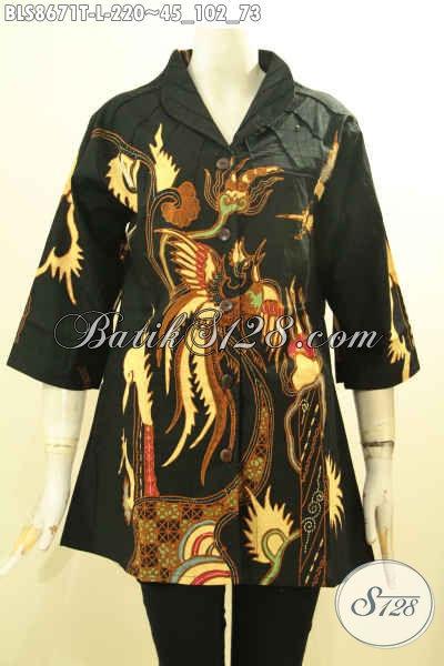Jual Batik Modern Nan Istimewa, Pakaian Batik Solo Untuk Wanita Tampil Berkelas, Hadir Dengan Kerah Langsung Warna Hitam ELegan Motif Bagus Proses Tulis, Cocok Buat Ngantor