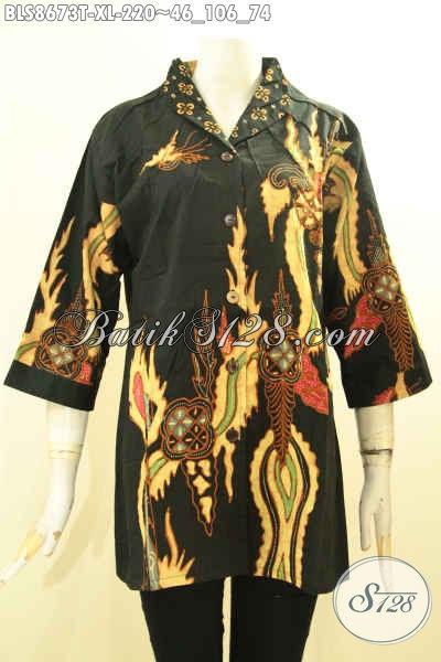 Koleksi Busana Batik Solo Modis Dan Kekinian, Pakaian Batik Modern Nan Istimewa Motif Bagus Proses Tulis Model Kerah Langsung, Cocok Untuk Kerja Dan Acara Formal