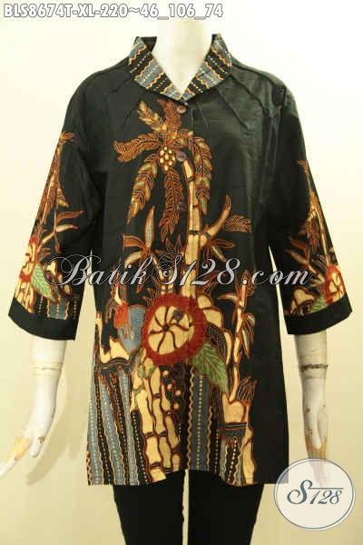Batik Blouse Motif Pohon Kelapa Dasar Hitam Proses Tulis, Pakaian Batik Wanita Dewasa Yang Ingin Tampil Gaya Dan Modis Model Kerah Langsung Hanya 220K