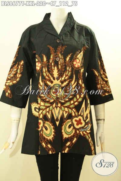 Jual Batik Blus Big Size, Busana Batik Wanita Gemuk Model Kerah Langsung Motif Terkini Proses Tulis, Cocok Untuk Seragam Kerja Kantoran