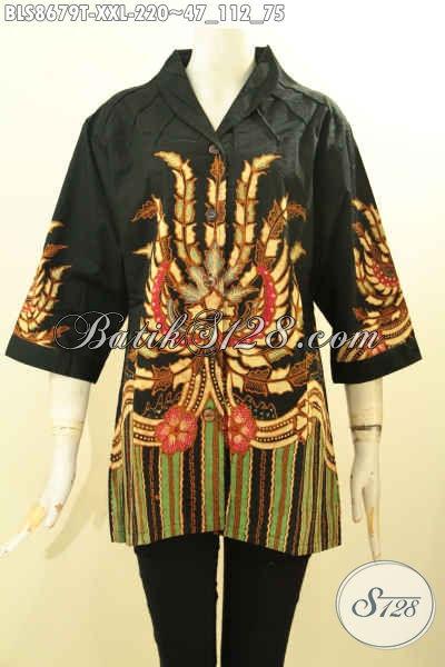 Baju Batik Motif Bagus Dan Keren, Blouse Batik Tulis Buatan Solo Model Kerah Langsung Bahan Adem Nyaman Di Pakai, Spesial Untuk Wanita Gemuk