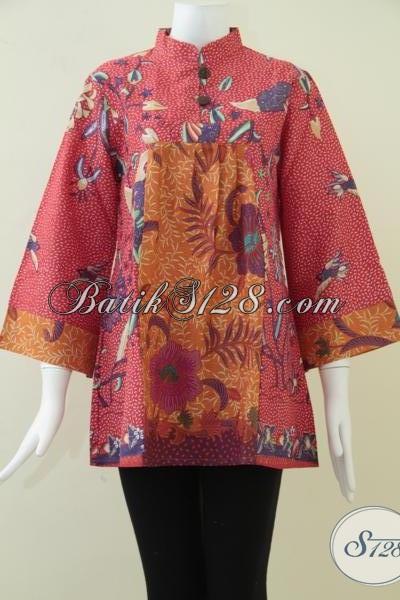 Busana Batik Wanita Kombinasi Warna Merah Dan Orange,Motif Batik Serasi Dan Elegan [BLS872P-L]