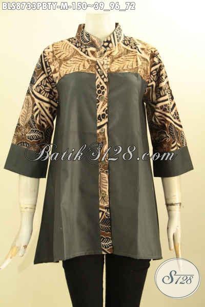 Batik Blouse Wanita Trendy Desain Terbaru Dengan  Kerah Shanghai Dan Lengan 3/4, Bahan Halus Paduan Kain Batik Dan Katun Polos Toyobo Yang Fashionable [BLS8733PBTY-M]
