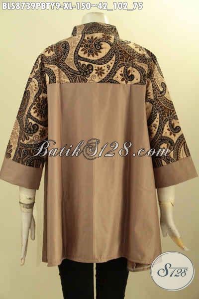 Pakain Batik Wanita Dewasa Lengan 3/4 Ukuran XL Motif Bagus Proses Printing Cabut Bahan Adem Dengan Kerah Shanghai, Cocok Buat Santai Dan Resmi