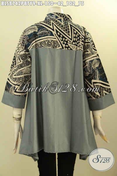 Baju Batik Santai, Blouse Batik Resmi, Busana Batik Berkelas Model Kerah Shanghai Lengan 3/4 Kwalitas Bagus, Penampilan Terlihat Sempurna
