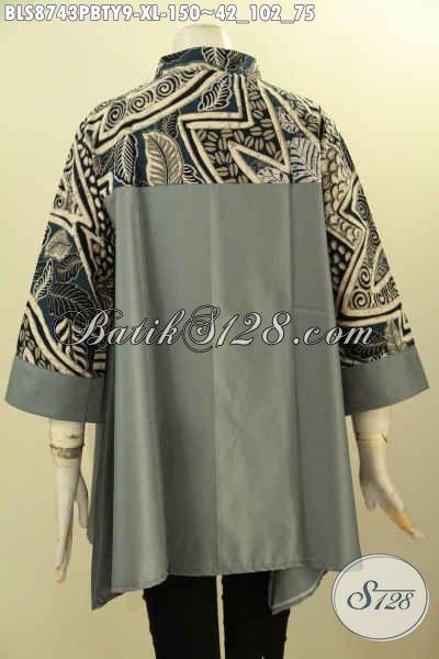 Baju Kerja Batik Wanita Kantoran Size XL, Blouse Batik Kerah Shanghai Modis Lengan 3/4 Paduan Kain Batik DAn Katun Polos Toyobo Hanya 150K