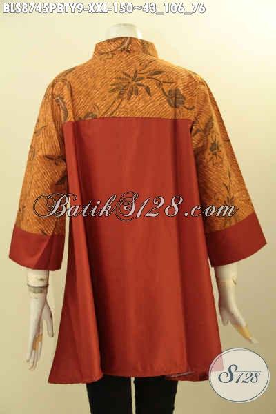 Blouse Batik Jumbo Nan Elegan, Produk Batik Blouse Modern Kekinian Paduan Kain Batik Dan Katun Polos Toyobo Kwalitas Istimewa, Cocok Untuk Kerja