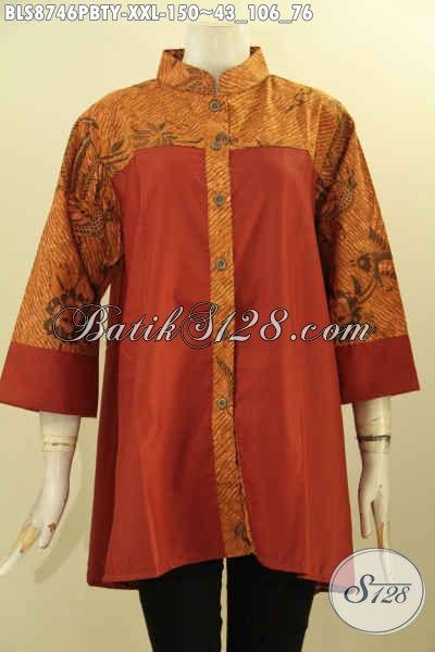 Pakaian Batik Wanita Modern Khas Jawa Tengah Kekinian, Baju Batik Modern Terbaru Bahan Adem Dengan Kerah Shanghai Lengan 3/4, Cocok Untuk Kerja Dan Acara Resmi