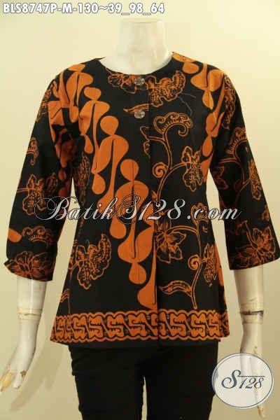 Blouse Batik Kancing Depan Lengan 7/8, Baju Batik Modern Tanpa Krah Pas Banget Untuk Kerja Dengan Motif Klasik Printing Hanya 100 Ribuan Saja